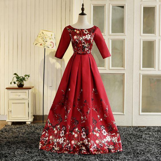 Hermoso Rojo Largos Vestidos de noche 2018 A-Line / Princess U-escote Charmeuse Impresión Noche Vestidos de gala