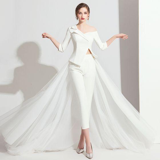 Stylowe / Modne Białe Kombinezon 2019 Jedno Ramię 3/4 Rękawy Trenem Sweep Bez Pleców Sukienki Wieczorowe