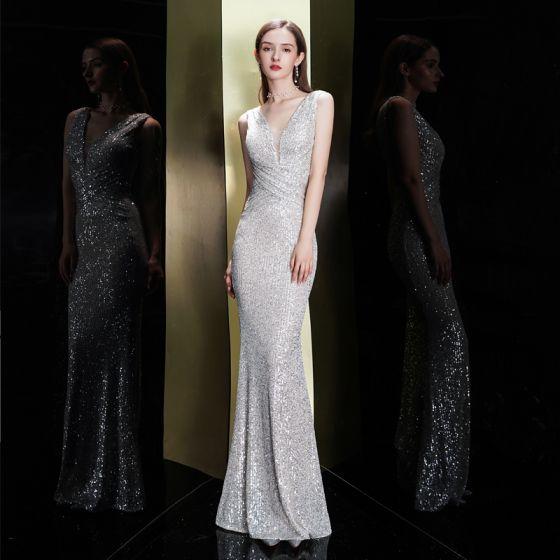 Glitzernden Silber Pailletten Abendkleider 2020 Meerjungfrau Tiefer V-Ausschnitt Ärmellos Lange Rückenfreies Festliche Kleider