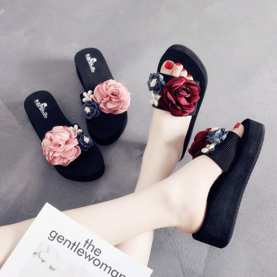 Modern / Fashion Black Summer Casual Slipper & Flip flops 2018 Artificial Flowers Pearl 5 cm Platform Wedges Open / Peep Toe Womens Shoes
