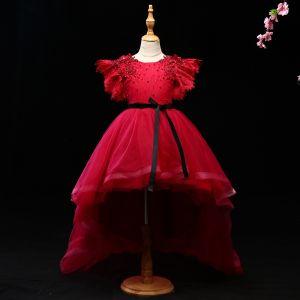 Schöne Burgunderrot Mädchenkleider 2017 Ballkleid Kristall Applikationen Schleife Rundhalsausschnitt Rückenfreies Kurze Ärmel Asymmetrisch Kleider Für Hochzeit