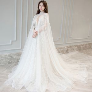 Sexy Ivory Wedding Dresses 2018 A-Line / Princess Appliques Lace With Shawl Detachable Spaghetti Straps Backless Sleeveless Chapel Train Wedding