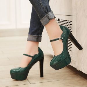 Modern / Fashion Dark Green Casual Womens Shoes 2018 Patent Leather Buckle 12 cm Stiletto Heels Platform Round Toe Pumps