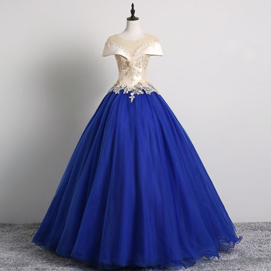 Vintage Azul Real Vestidos de gala 2019 Ball Gown Scoop Escote Perla Con Encaje Flor Apliques Mangas de la tapa Sin Espalda Largos Vestidos Formales