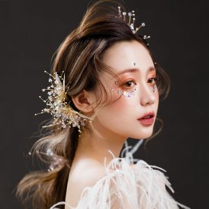 Chic / Beautiful Gold Bridal Jewelry 2020 Alloy Beading Rhinestone Leaf Headpieces Earrings Wedding Accessories