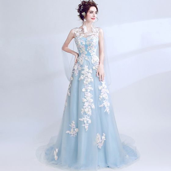 Chic / Beautiful Sky Blue Evening Dresses  2017 A-Line / Princess U-Neck Appliques Backless Embroidered Tulle Evening Party Prom Dresses