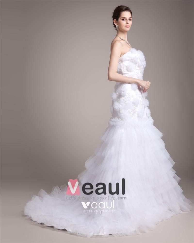 Strapless Floor Length Flower Satin Yarn Women Mermaid Wedding Dress