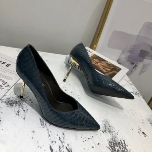 Chic / Beautiful Navy Blue Street Wear Leather Pumps 2020 Snakeskin Print 7 cm Stiletto Heels Pointed Toe Pumps