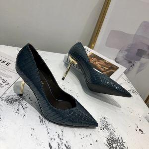Chic / Beautiful Navy Blue Street Wear Leather Pumps 2020 Snakeskin Print 7 cm Stiletto Heels Pointed Toe Pumps