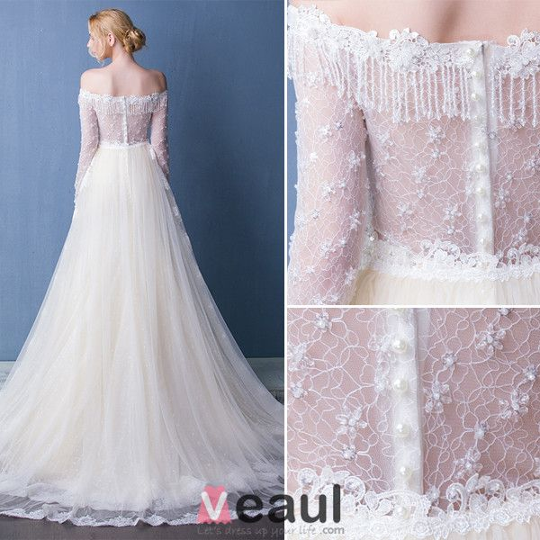 Elegant Wedding Dresses 2016 Mermaid Off The Shoulder Tassel Neckline Champagne Lace Bridal Dress With Long Sleeves