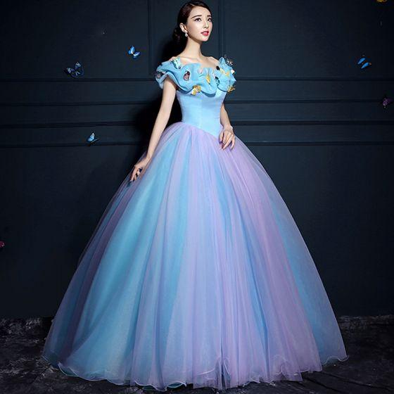 Kopciuszek Niebieskie Suknia Balowa Sukienki Na Bal 2017 Tiulowe U-Szyja Liliowy Motyl Bez Pleców Bal Sukienki Wizytowe