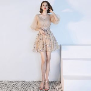 Sparkly Bling Bling Champagne Party Dresses 2018 Tulle V-Neck A-Line / Princess 1/2 Sleeves Beading Sequins Short Cocktail Party Formal Dresses