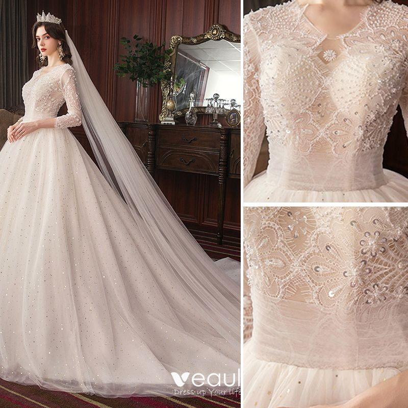 Classy Ivory Wedding Dresses 2020 A Line Princess Lace Beading Star Sequins Pearl V Neck Backless 34 Sleeve Cathedral Train