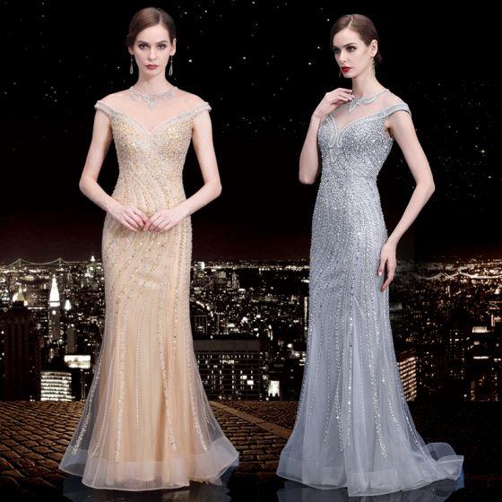 Wysokiej Klasy Przezroczyste Sukienki Wieczorowe 2020 Syrena / Rozkloszowane Wycięciem Bez Rękawów Frezowanie Cekiny Rhinestone Trenem Sweep Wzburzyć Sukienki Wizytowe