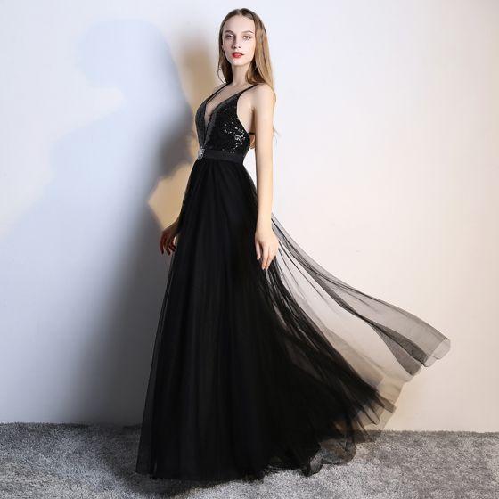 Sexy Negro Vestidos de noche 2019 A-Line / Princess Rhinestone Lentejuelas V-Cuello Sin Mangas Plunging Cross-Back Sin Espalda Largos Vestidos Formales