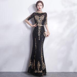 Brillante Negro Oro Vestidos de noche 2017 Trumpet / Mermaid Scoop Escote 1/2 Ærmer Lentejuelas Apliques Con Encaje Metal Cinturón Largos Vestidos Formales