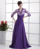 A-Line V-Neck Chiffon Ruffles Floor Length Mothers Of The Bridal Dresses