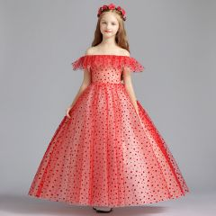 Lovely Red Flower Girl Dresses 2019 A-Line / Princess Off-The-Shoulder Short Sleeve Spotted Tulle Floor-Length / Long Ruffle Backless Wedding Party Dresses