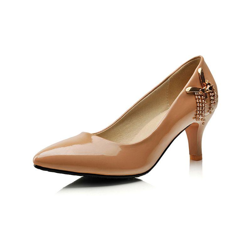 Escarpins Belles Nude Talons Talons Aiguilles Chaussures Pour Femmes En Cuir Verni