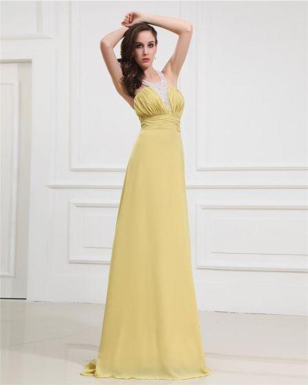 Empire Chiffon Beading Halter Floor Length Evening Dresses
