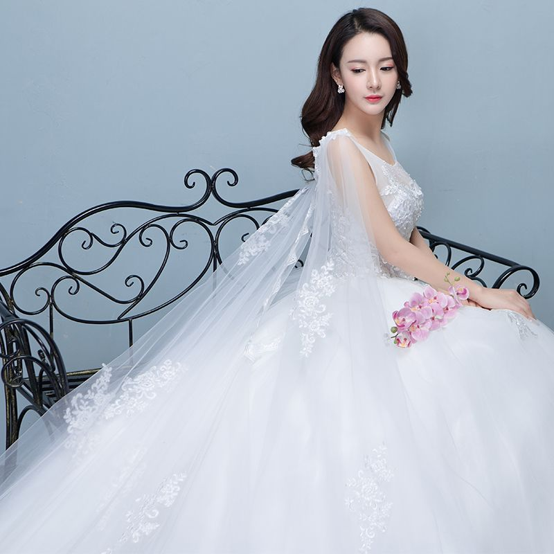 Chic / Beautiful Church Wedding Dresses 2017 White Ball Gown Royal Train Scoop Neck Sleeveless Backless Crossed Straps Lace Appliques Pearl Beading