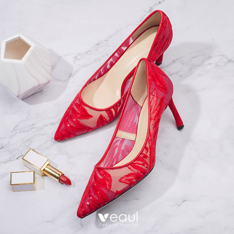 Elegant Burgundy See-through Wedding Shoes 2019 Lace 7 cm Stiletto Heels Pointed Toe Wedding Pumps