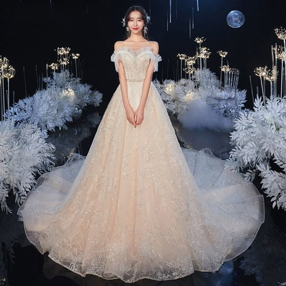 Chic / Beautiful Champagne Bridal Wedding Dresses 2020 A-Line / Princess Off-The-Shoulder Short Sleeve Backless Appliques Sequins Beading Glitter Tulle Cathedral Train