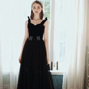 Elegant Black Prom Dresses 2020 A-Line / Princess Square Neckline Rhinestone Bow Sleeveless Backless Floor-Length / Long Formal Dresses