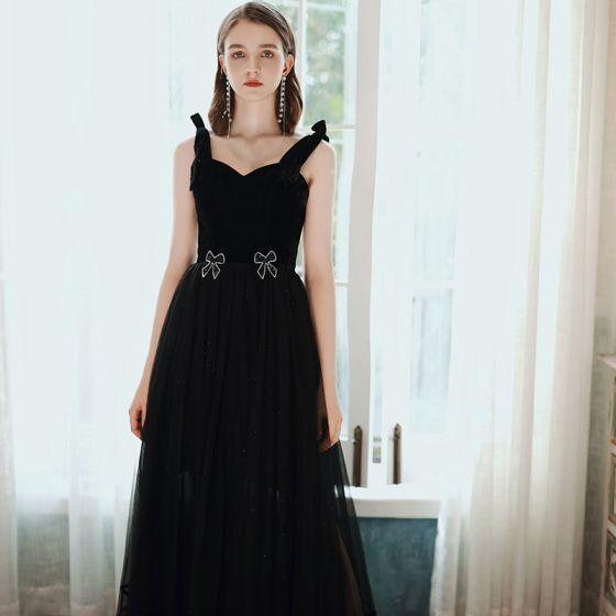 Elegant Black Prom Dresses 2020 A-Line / Princess Square Neckline Rhinestone Bow Sleeveless Backless Floor-Length / Long Formal Dresses