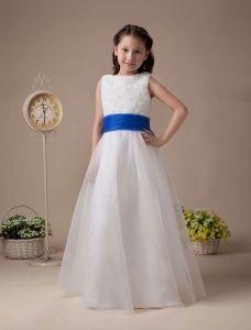 Süße Weiße Weiche Organza Blumenmädchen Kleid Kommunionkleider