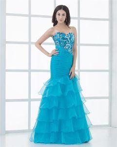 Sweetheart Floor Length Paillette Ruffles Organza Mermaid Women Prom Dress