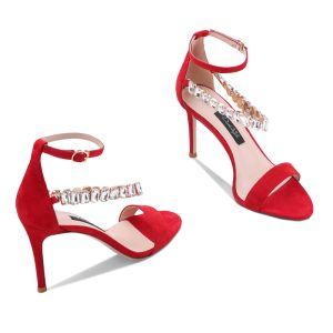 Sexy Rouge Cocktail Sandales Femme 2020 Faux Diamant Bride Cheville 10 cm Talons Aiguilles Peep Toes / Bout Ouvert Sandales