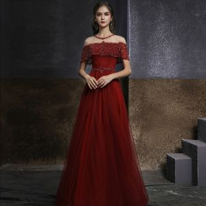 Eleganckie Burgund Przezroczyste Sukienki Wieczorowe 2020 Princessa Wysokiej Szyi Kótkie Rękawy Frezowanie Cekiny Długie Wzburzyć Sukienki Wizytowe