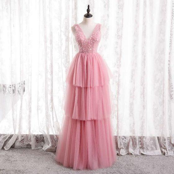Schön Pink Rüschen Abendkleider 2021 A Linie Rundhalsausschnitt Ärmellos Perlenstickerei Pailletten Rückenfreies Abend Lange Festliche Kleider