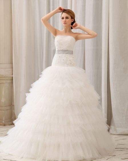 Gauze One Shoulder Monarch Ball Gown Wedding Dress
