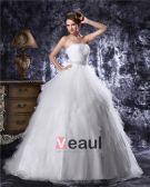 Strapless Bördeln Gefaltete Tulle-ballkleid Brautkleid