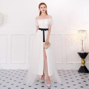 Modern / Fashion Ivory Formal Dresses 2018 A-Line / Princess Spaghetti Straps Backless Short Sleeve Ankle Length Evening Dresses