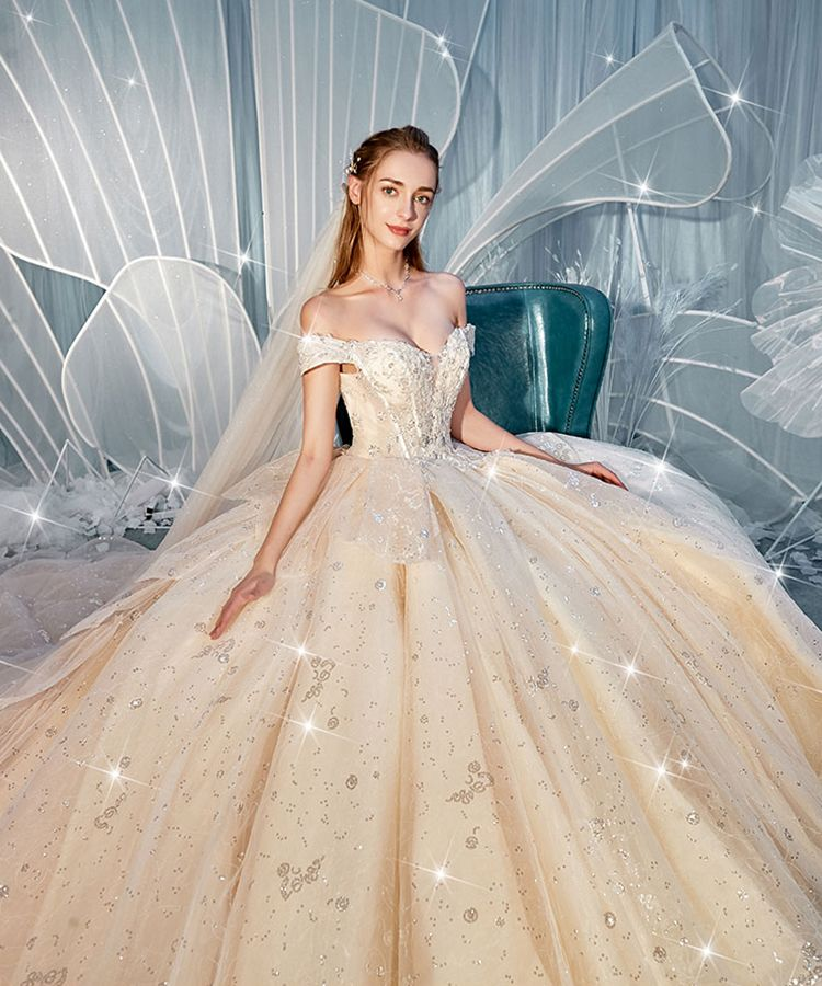 Luxury / Gorgeous Champagne Wedding Dresses 2019 Ball Gown Off-The-Shoulder Short Sleeve Backless Glitter Sequins Tulle Cascading Ruffles Cathedral Train