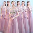 Affordable Blushing Pink Bridesmaid Dresses 2019 A-Line / Princess Sash Floor-Length / Long Ruffle Wedding Party Dresses