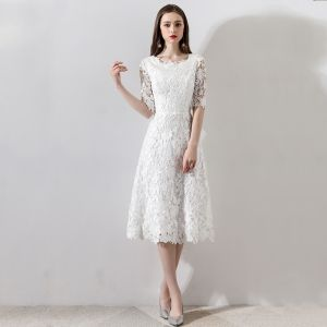 Chic / Beautiful White Wedding 2018 A-Line / Princess U-Neck Lace-up 1/2 Sleeves Zipper Up Short Wedding Dresses