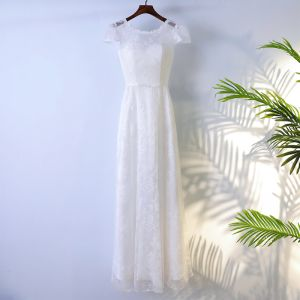 Schlicht Weiß Brautjungfernkleider 2017 A Linie Mit Spitze Blumen Schleife Rückenfreies Rundhalsausschnitt Kurze Ärmel Knöchellänge Kleider Für Hochzeit