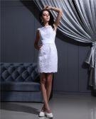 Juwel Ärmellos Reißverschluss Applique Satin Mini Frau Mini-hochzeitskleid Kurz Brautkleid
