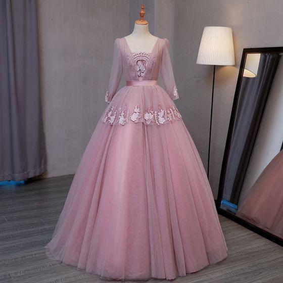 Vintage / Originale Rougissant Rose Robe De Bal 2017 Robe Boule V-Cou Manches Longues Appliques En Dentelle Longue Volants Dos Nu Robe De Ceremonie