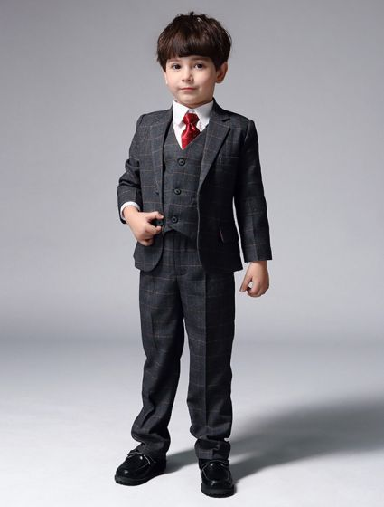 Boys Gray Suits With Red Tie Children's Suits 4 Sets
