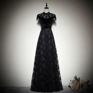Vintage / Retro Black Suede Lace Evening Dresses  2019 A-Line / Princess High Neck Cap Sleeves Sash Floor-Length / Long Ruffle Formal Dresses