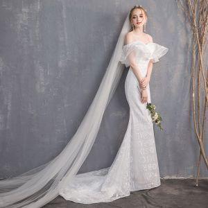 Unique Weiß Brautkleider 2018 Mermaid Spaghettiträger Rückenfreies Kurze Ärmel Sweep / Pinsel Zug Hochzeit