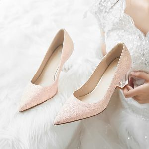 Brillante Rosa Glitter Zapatos de novia 2020 Lentejuelas 7 cm Talones Gruesos Punta Estrecha Boda Tacones