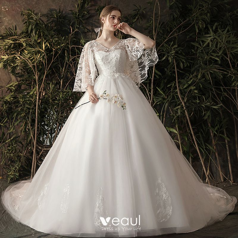 Chic Beautiful Ivory Pregnant Wedding Dresses 2019 A Line Princess V Neck Pearl Lace Flower 3,Stylish Beautiful Dresses To Wear To A Wedding As A Guest