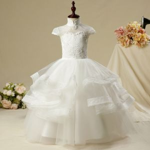 Chinese style Church Wedding Party Dresses 2017 Flower Girl Dresses White Floor-Length / Long Ball Gown Short Sleeve Beading High Neck Lace Appliques Flower