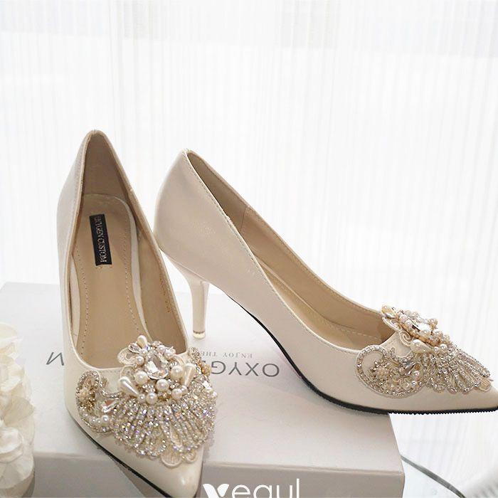 729666041c Luxury / Gorgeous Ivory Handmade Beading Wedding Shoes 2019 Pearl ...